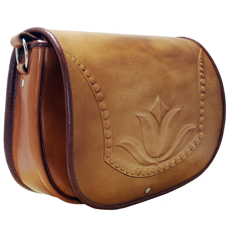 Moulded Tulip flower design women genuine leather crossbody bag