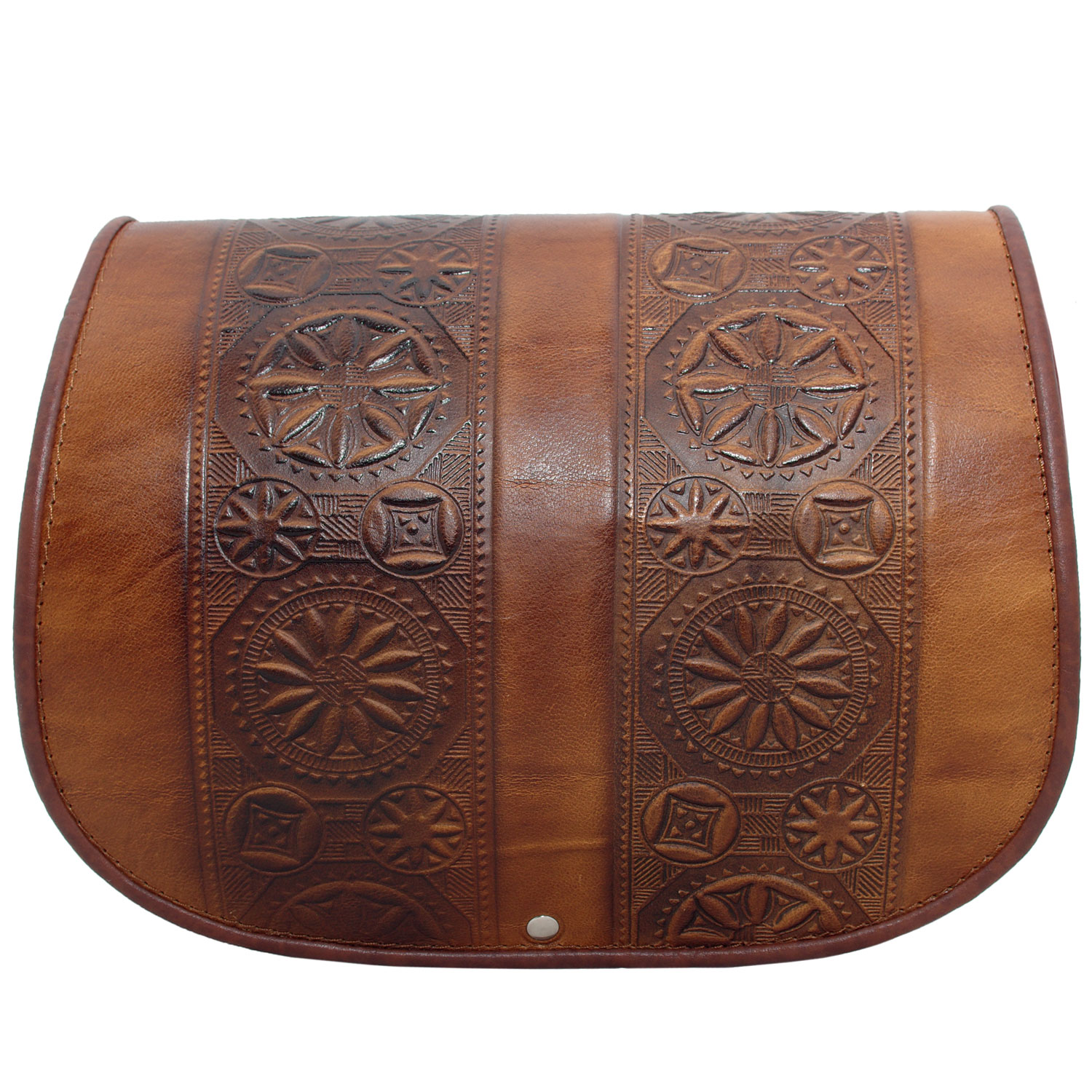 Large women full grain leather bag with traditional popular motifs moulded embossed symbols
