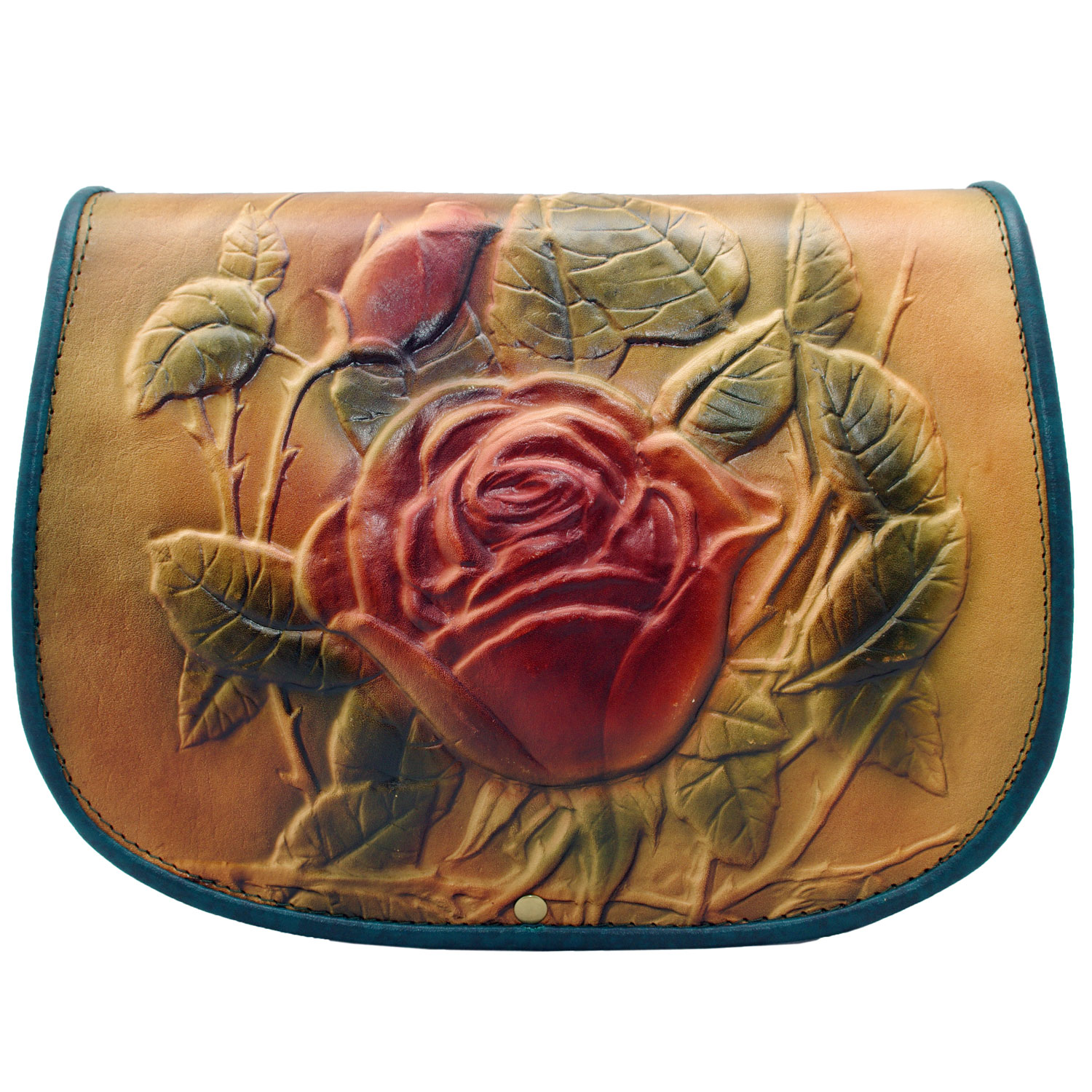 Brown and Red Rose Full Grain leather bag for women crossbody messenger style