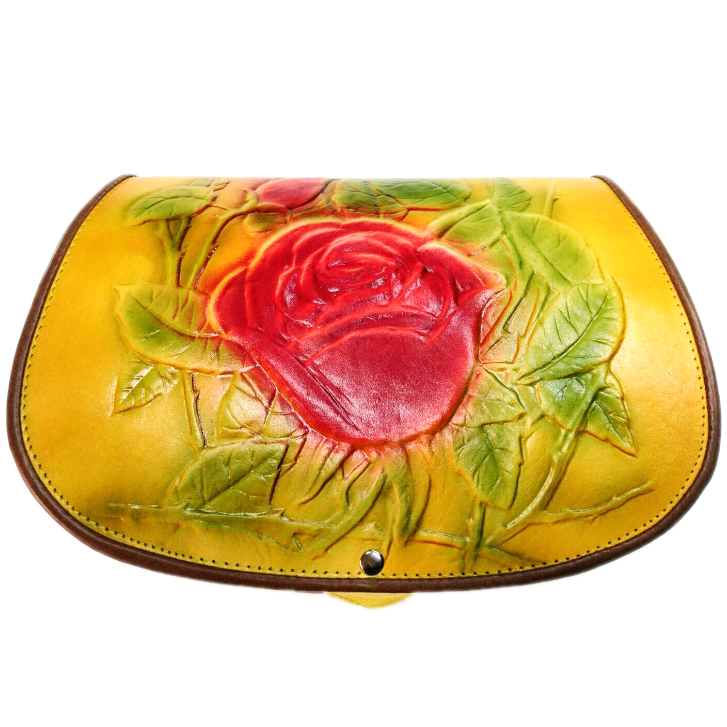 Yellow Rose Leather bag for women crossbody messenger style