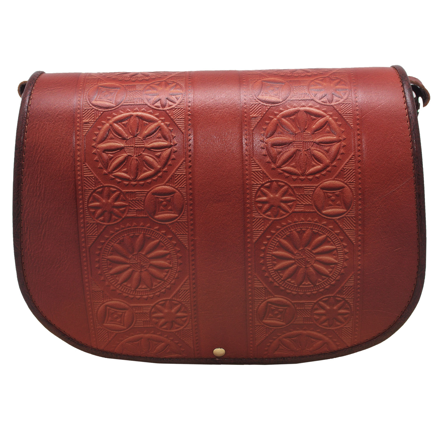 Large women full grain leather bag with traditional popular motifs moulded embossed symbols 7