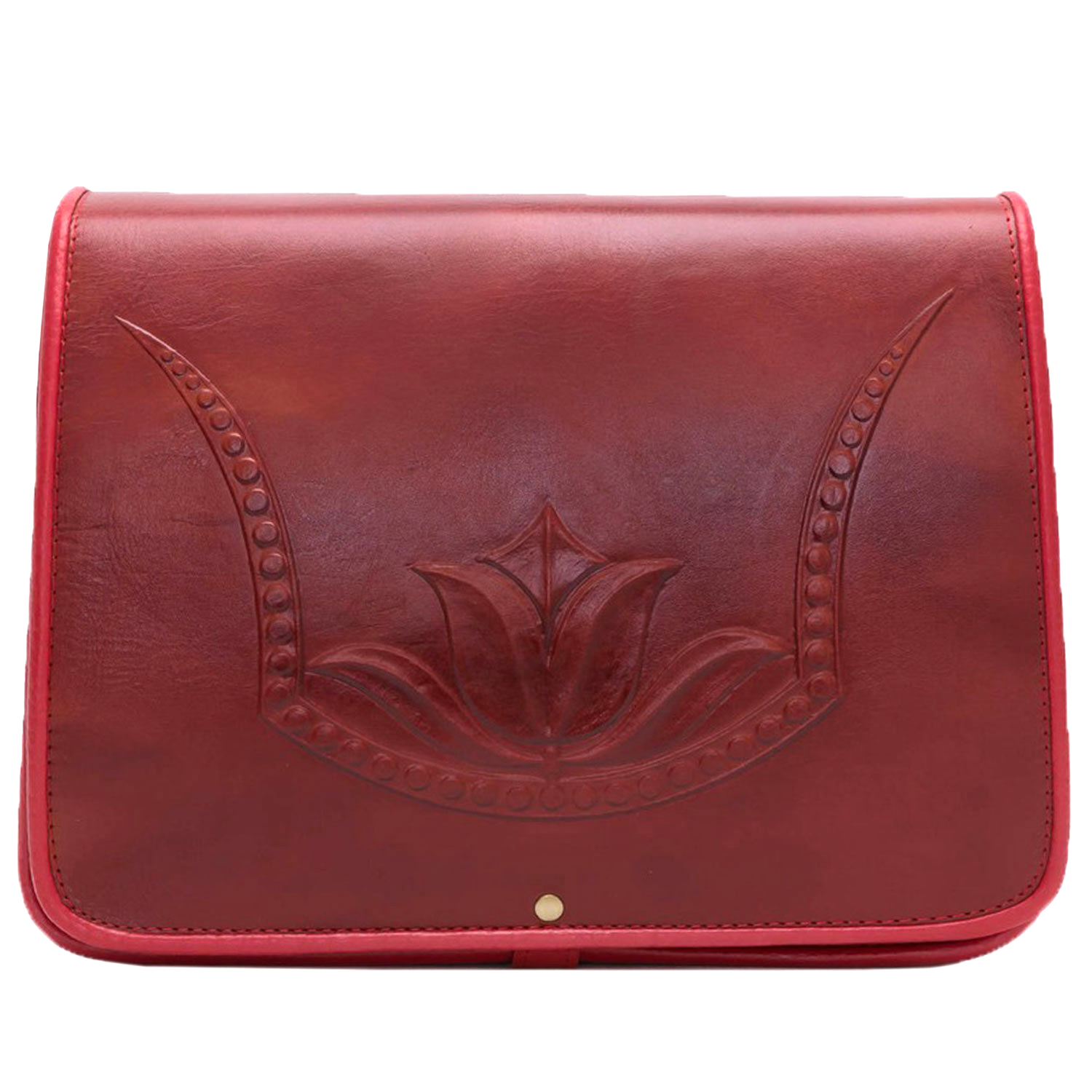 Red tulip flower pattern genuine leather women bag