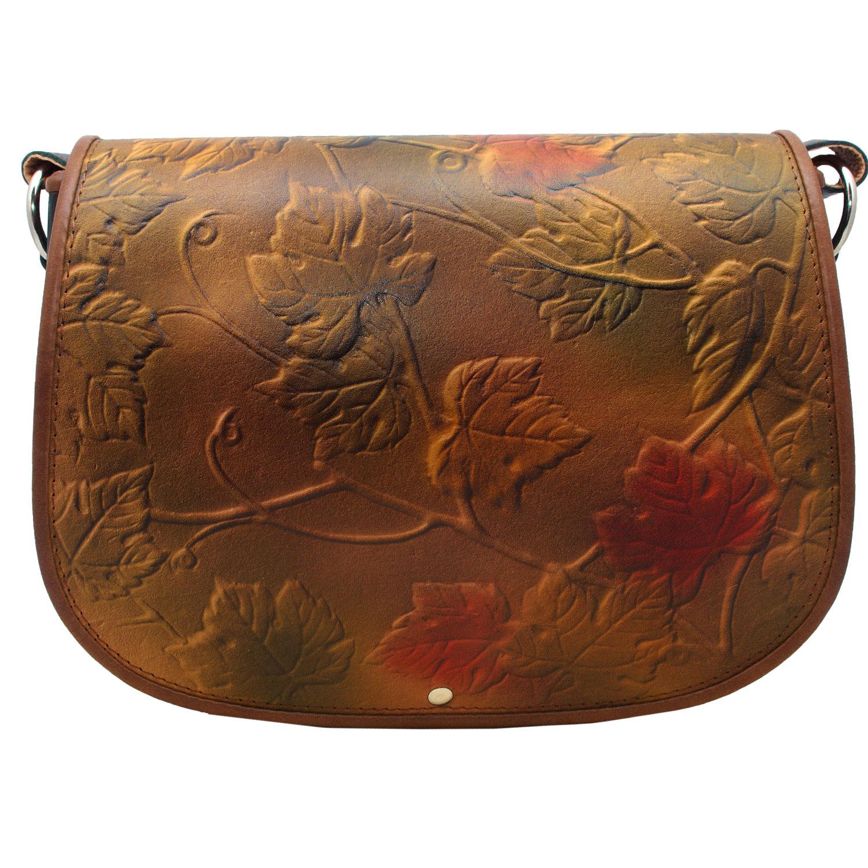 Autumn flower and leaves genuine women leather bag design crossbody messenger style