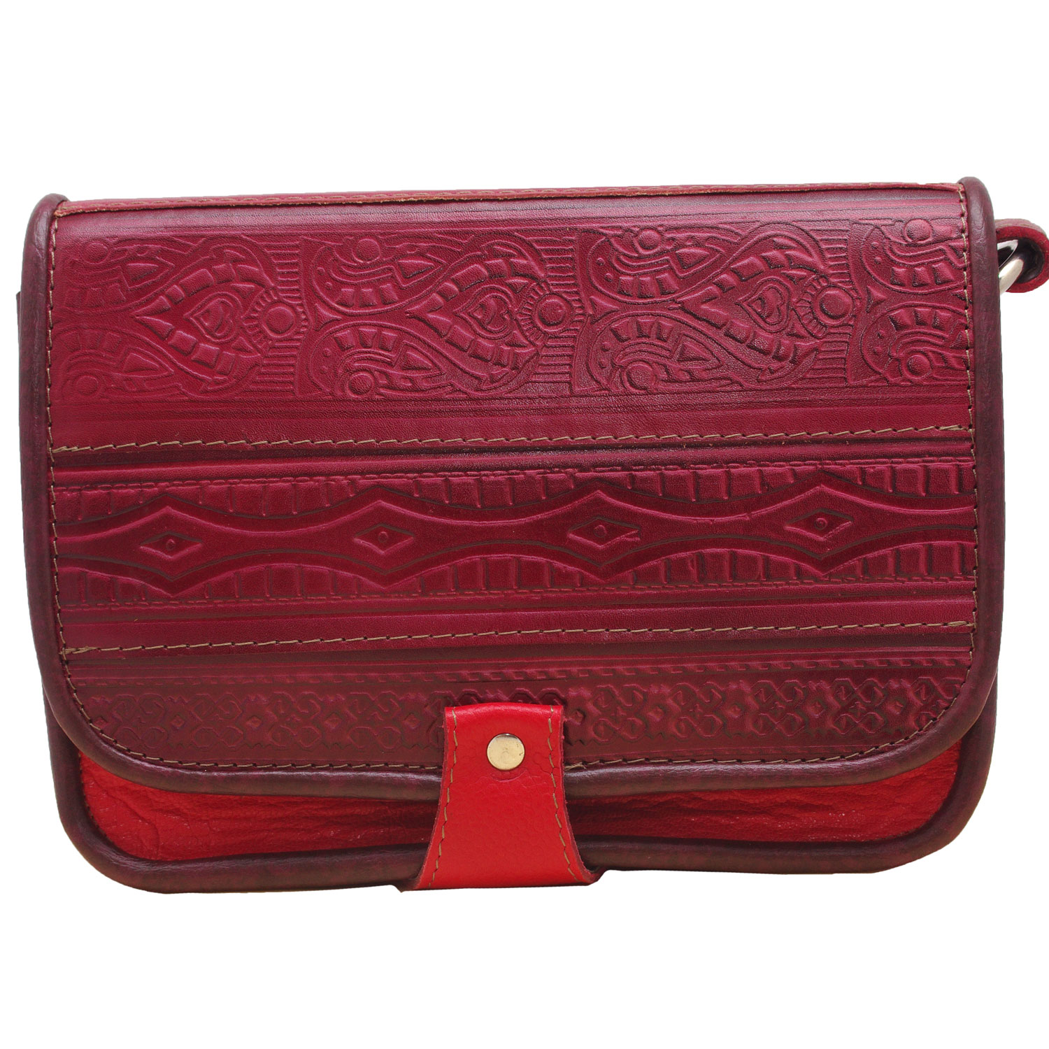 Red woman genuine leather bag with abstract popular motifs embossed design