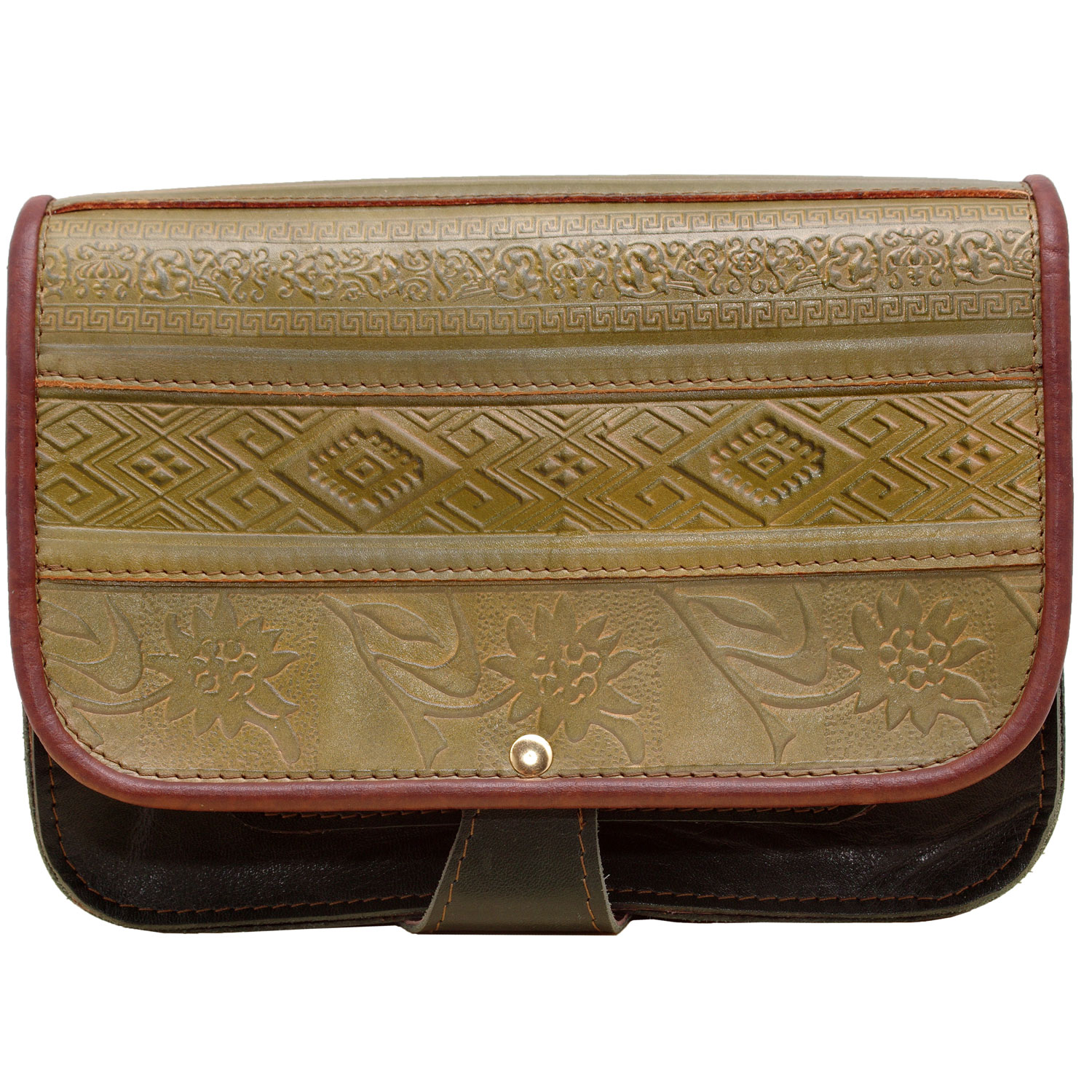 Green and Olive woman genuine leather bag with abstract popular motifs embossed design