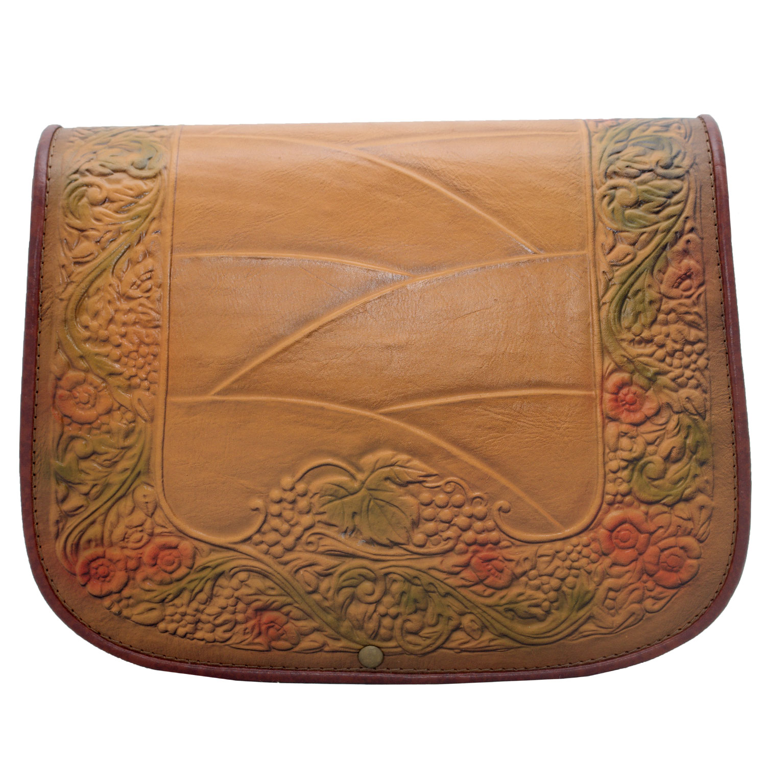 Woman-genuine-leather-bag-crossbody-satchel-light-brown-moulded-leaves